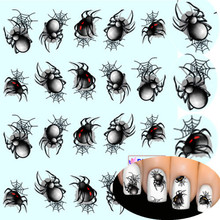 1 sheet Spider Water Transfer Nail Art Sticker Watermark Nail Decals Water Slide Temporary Tattoos Nail Accessory BEBLE1341(China)
