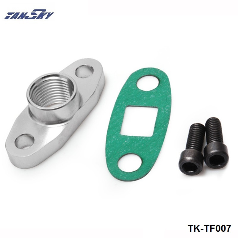 TANSKY - Turbo Oil DRAIN OUTLET Flange Gasket Adapter Kit an10 1/2NPNTFitting T3 T4 TK-TF007