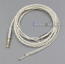 Semi-Finished With 3.5mm Plugs Silver Foil PU Skin Cable For Custom Repair Earphone Headphone Wires LN005336(China)
