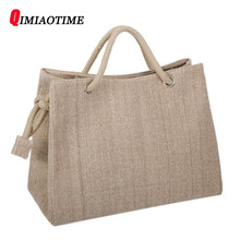 Buy High Women Linen Woven Luxury Tote Large Capacity Female Casual Shoulder Bag Lady Daily Handbag Fresh Beach Shopping Bag for $19.37 in AliExpress store