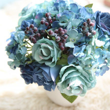 Hot Blue Artificial Fake Peony Flower Arrangement Wedding Hydrangea Home Decorated Gem Blue Rose Artificial Hydrangea Flower