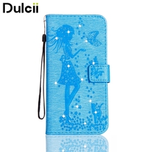 Dulcii for iPhone 6 Plus Imprinted Fairy and Butterfly Pattern Crystal Leather Wallet Phone Case for iPhone 6s Plus / 6 Plus