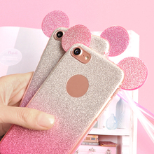 Cute TPU Case For iPhone 5 5S 6 6S 7 Glitter Minnie Mickey Ears For Samsung Galaxy S8 Plus S7 S6 Edge S5 A3 A5 J5 2016 J7 2017
