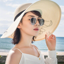 HT1137 2017 New Hot Women Summer Beach Hat Sequin Letters Floppy Hat Lady White Large Brimmed Sun Hat Female Solid Straw Hat(China)