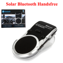 New Universal Wireless Bluetooth Car Kit Handsfree Speaker Phone+ Car Charger+Solar Power Wireless Solar Bluetooth Handsfree(China)