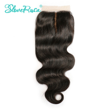 Slove Rosa Silk Base Closure Body Wave Remy Brazilian Human Hair 4x4 Middle Brown Lace Middle Part Bleached Knots Free Shipping(China)