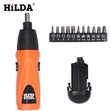 HILDA 6V Electric Battery Power screwdriver Cordless Drill 14pcs Screwdriver bit set Household DYI Tools  screwdriver battery