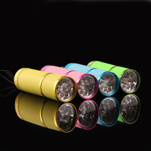 High Quality 3AAA Battery Powerd Multi-fuction Portable Mini 9 LED Nail Dryer Currency Detector UV Gel Lamp Flashlight Torch