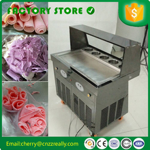 wholesale price fry ice cream roll single square pan roller machine with foot defrost five hoppers