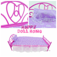 Free Shipping Mini Doll Bed Furniture 3 items(doll bed+pillow+bedsheet) For Barbie Doll House Baby Toys Hot Selling(China)