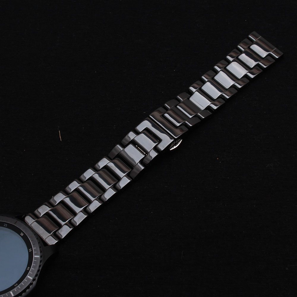 Black Ceramic Watchbands High Quality Watch strap bracelet 22mm fit Samsung Gear S3 Watch Accesssories polished Unpolished Matte<br>