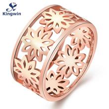 Italian Designer fashon jewelry Rose Gold Color flower design women ring size 7 ,8  cute eternity band wedding gift