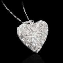Modyle New Silver-Color Jewelry Heart Photo Locket Necklace Pendant Valentine's Day Gift For Women Girl