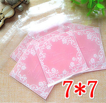 100pcs Pink Button White Rose Self-adhesive Seal OPP 7*7cm Event Gift Cookie Decorations Packaging Bags DIY Candy Gift Bag(China)