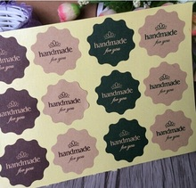120PCS Vintage Flower Round Wave Kraft paper'handmade for you'seal Sticker for Handmade Products DIY multifunctional Gift
