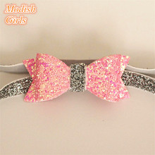10pcs/lot  Glitter Leather Shinning Hairbands Elastic Headbands Princess Comfortable Cute Boys Hairbands For Girls Free Shipping