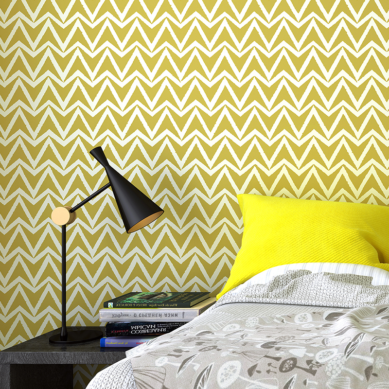 Modern  Fashion Abstract Geometric 3D Wavy Curved Stripes Wallpaper Bedroom Living Room Background Wallpaper Coverings Green <br>
