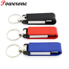 POWERONE Hot sale 3 colour metal leather keychain pendrive usb flash drive 32GB 8GB USB 2.0 commercial Memory Stick Pendrives(China)