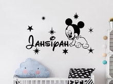 Creative New DIY Cute Mickey Mouse Custom Kids Name Baby Wall Sticker For kids rooms home decoration wall stickers Murals A945(China)