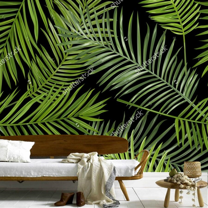 Custom photo wallpaper for the living room bedroom TV background PVC waterproof wallpaper 3D Tropical Leaves papel de parede<br>
