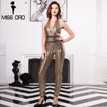 Missord 2017 Sexy Deep-V sleeveless strapless halter backless sequin jumpsuit FT4998(China)