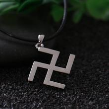 2016 Silver Buddhism Peace Symbol Swastika Necklace with Leather Rope Jainism Hinduism Fine Lucky Symbol Jewelry Dropshipping