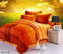 Luxury 100% Egyptian cotton designer orange brand bedding sets king queen size duvet cover sheets bedspreads bed in a bag quilt
