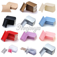 50pcs Pillow Candy Box PVC Paperboard 5-8 candies Capacity Wedding Decoration Sweets Gift Pouch Colorful(China)