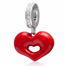 925 sterling silver red hart pendant for women charms Jewelry Accessories fit Necklaces & bracelets(China)