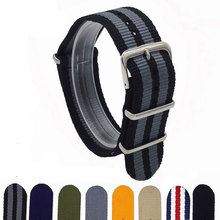 1PCS Canvas Fabric Nylon Watch Straps Bands Black Army Green Brown Gray Striped Replace Wristwatch bracelet Width 18mm 20mm 22mm(China)