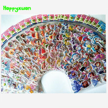 50 sheets/lot 3D Mini Cartoon Stickers Children Fruit Flower Princess Horse Classic Toys for Kids Girls