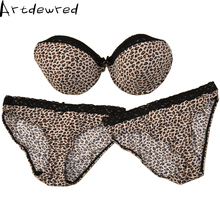 Intimate Bra Set Sexy Plus size Leopard Glossy Lace Patchwork Bra Brief Sets BCD Cup Underwear Women Push Up 1 Bra & 2 Panty Set
