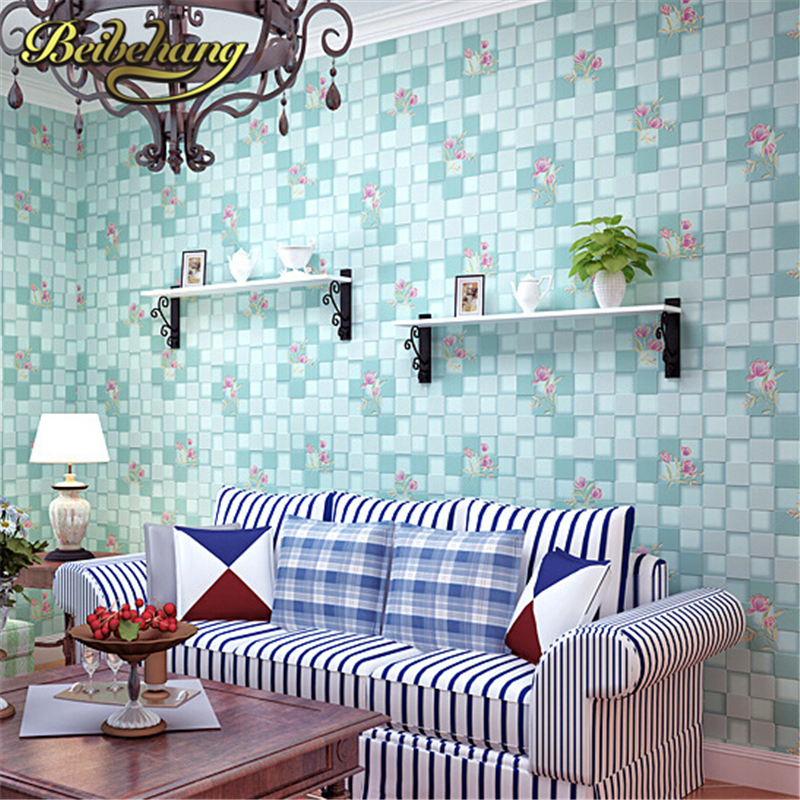 beibehang for girls room for home decoration blue/pink 3D wallpaper Non-woven mosaic wall paper roll flower pattern wallcovering<br>