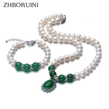 ZHBORUINI 2017 Fashion Necklace Pearl Jewelry Set Freshwater Pearl 925 Sterling Silver Jewelry Green For Mother Women Gift(China)