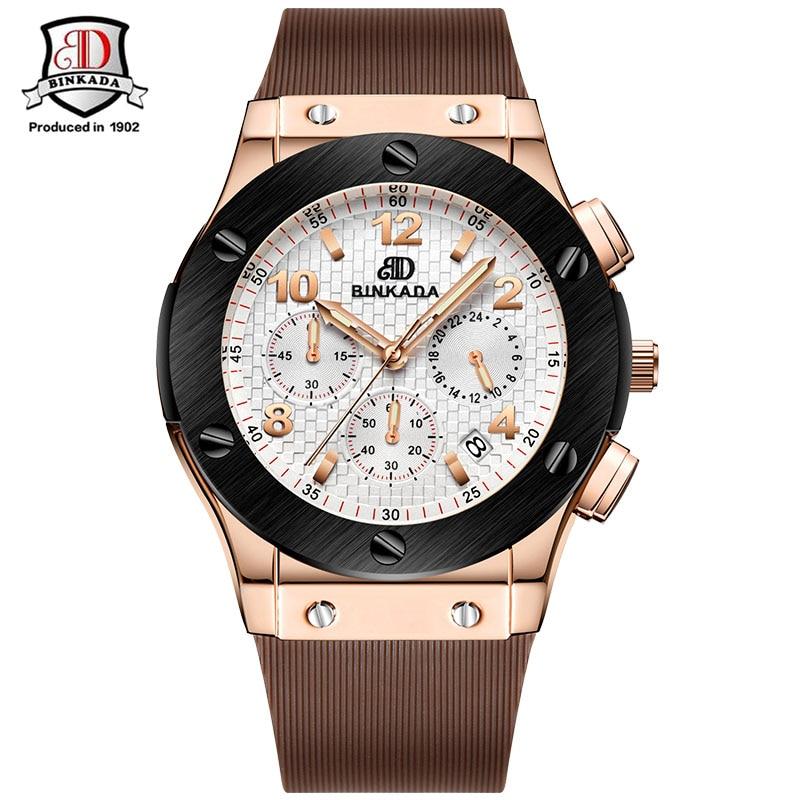Fashion Men Watch Top Brand Luxury BINKADA Fashion Casual Sport Waterproof Quartz-Watch Hub Silicon Strap Watch Relogio <br>