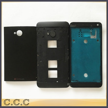 Original complete full housing for HTC One Dual Sim M7 802t 802d 802w battery cover back case + front plate + middle frame