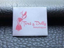 Free Shipping High Quality End folded Soft Satin clothing label printed  ,silk garment labels