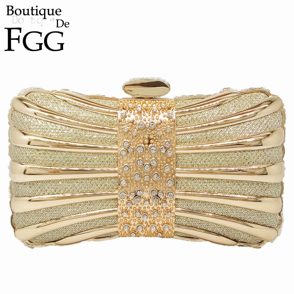 European and American Women Zinc Alloy Solid Metal Crystal Bags Ladies Gold Evening Party Dinner Mini Clutches Handbags Purse<br>