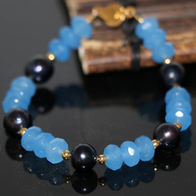 Natural black pearl 8-9mm blue dye stone jades chalcedony abacus 5*8mm beads original design bracelet clasp jewels 7.5inch B2959
