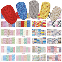 STZ 12 Sheets/Set New Latest Winter Designs Sweater Material Nail Sticker Colorful Full Tips Wraps for Water Decals BN517-528