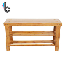 2 Tier Natural Bamboo Shoe Bench Shoe Rack Organizer and Foot Stool Home Furniture Accessories