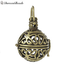 DoreenBeads Copper Wish Box Pendants Round Butterfly Carved Hollow Can Open (Fit 18mm Beads) 41mm x 26mm, 2 PCs