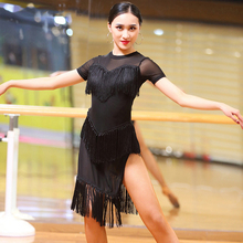 Buy Fashion New Latin Dance Woman Dress Short- Sleeve Tassel Dresses Ballroom Salsa Cha Cha Dancing Competition Dresses Dancing for $29.16 in AliExpress store