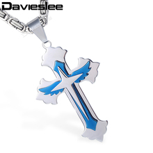 Davieslee Mens Womens Cross Pendant Necklace Stainless Steel Three-layer Wing Silver Blue Black Gold Tone LKPM122(China)