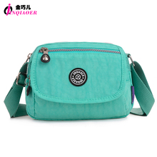 JINQIAOER Stylish Small Nylon Messenger Bag Women Waterproof Nylon Crossbody Bags Double Layer Satchels O Bag For Iphone Bolsa