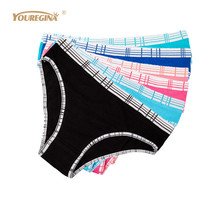 Buy YOUREGINA Woman Underwear Cotton Plaid Female Sexy Panties Briefs Knickers Intimates Lingerie Women Strings Thong 6pcs/lot