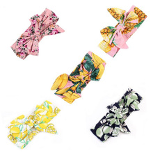 Girls Turban Headband Children Kids DIY Bowknot Headbands Baby Cotton Bow Headwraps Hair Accessories Hair Bands Bandana(China)