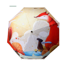 High-grade creative three folding woman Painting umbrella oil painting umbrella printing umbrella animal of fox TQ-13