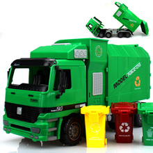 Big Size New Jumbo Children's Large Man Side Loading Garbage Truck Can Be Lifted With 3 Rubbish Bin Toy Car Wholesale
