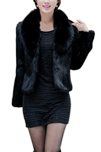 Hot Womens Imitation mink hair Nagymaros collar long-sleeved short coat